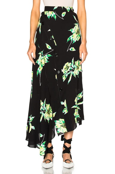 Proenza Schouler Printed Crepe Georgette Asymmetric Skirt in Black & Green Lilly Print