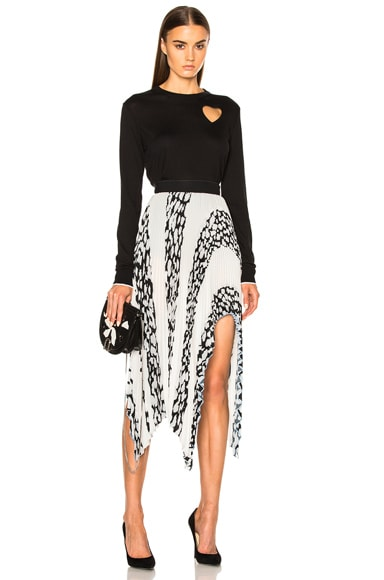 Printed Pleated Cloque Arched Asymmetric Skirt