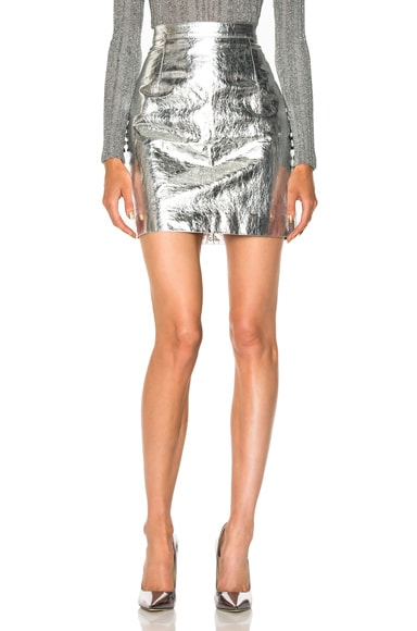 Lightweight Metallic Leather Mini Skirt