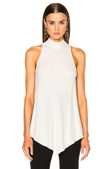 Proenza Schouler Satin Back Crepe Turtleneck Swing Top in Off White