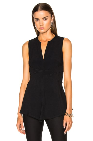 Proenza Schouler Satin Back Crepe Flared Top in Black