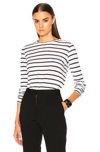Proenza Schouler Tissue Jersey Long Sleeve Tee in Black & White Stripe