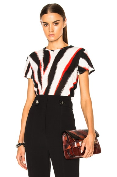 Proenza Schouler Printed Tissue Jersey Tee in Black, White & Red Zebra