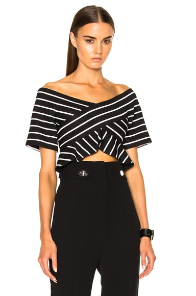 Proenza Schouler Stripe Jacquard Suiting Off The Shoulder Top in Black & White Stripe