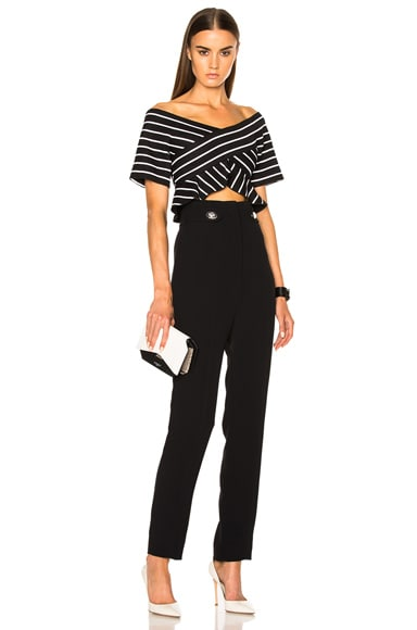 Stripe Jacquard Suiting Off The Shoulder Top
