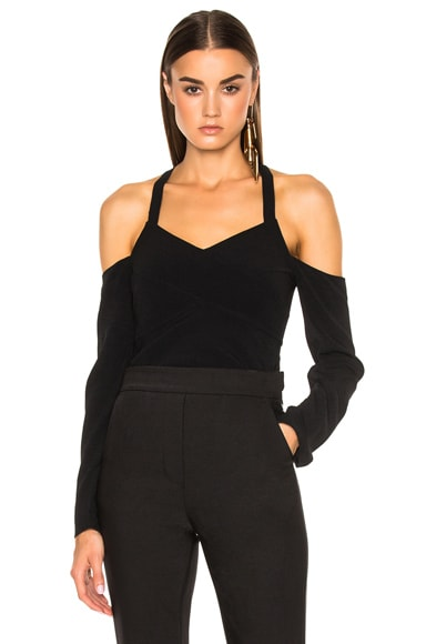 Proenza Schouler Satin Back Crepe Off Shoulder Top in Black