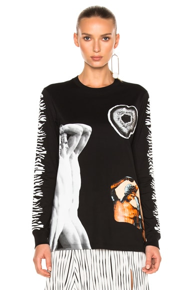 Proenza Schouler Printed Jersey Long Sleeve Tee in Black Geode