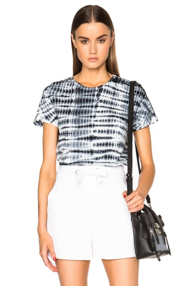 Proenza Schouler Tie Dye Baggy Cotton Tee in Black & White