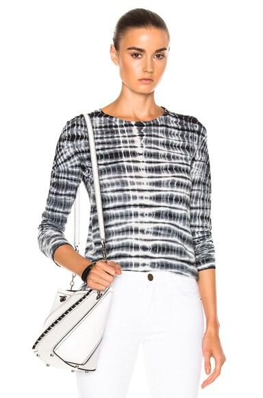 Proenza Schouler Tie Dye Tissue Jersey Tee in Black & White