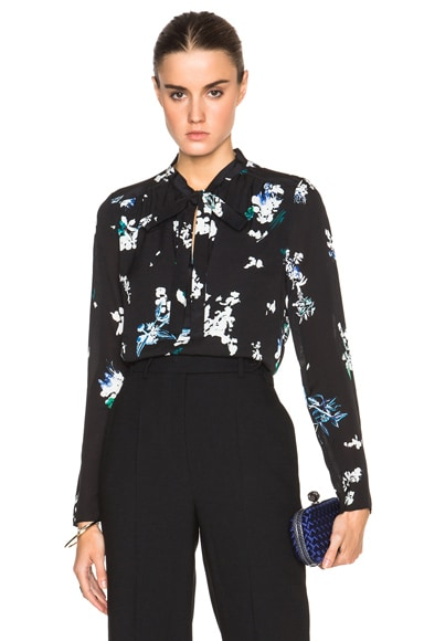 Proenza Schouler Floral Print Blouse in Black & Blue