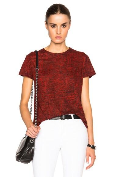 Proenza Schouler Static Print Tissue Jersey Tee in Black & Crimson