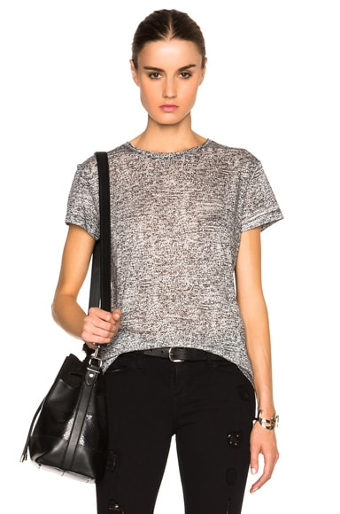 Proenza Schouler Static Print Tissue Jersey Tee in Black & Off White