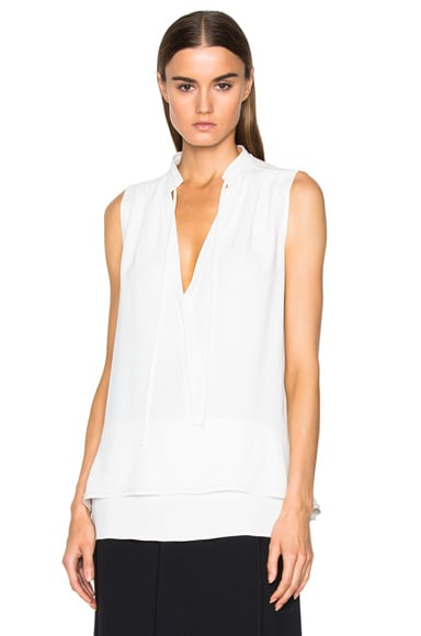 Proenza Schouler Satin Back Crepe Tie Top in Off White