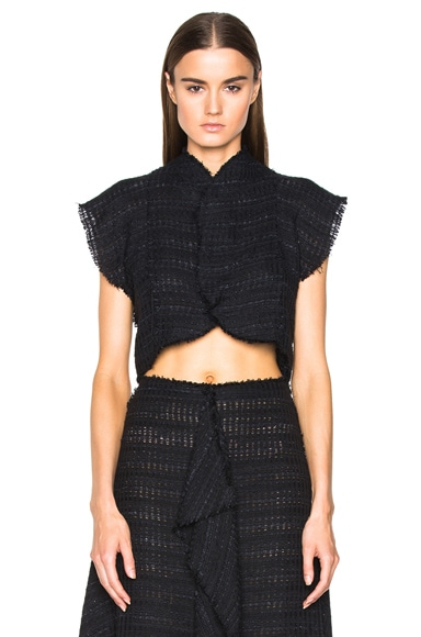 Proenza Schouler Open Weave Tweed Cropped Top in Black