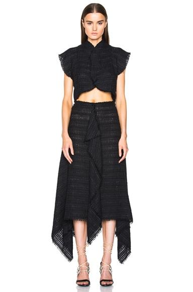 Open Weave Tweed Cropped Top