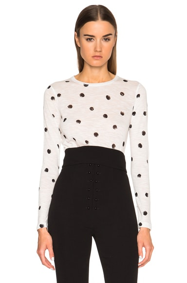 Proenza Schouler Printed Tissue Jersey Long Sleeve Tee in Black & White Dot Print