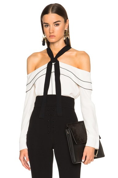 Proenza Schouler Off Shoulder Blouse in Off White