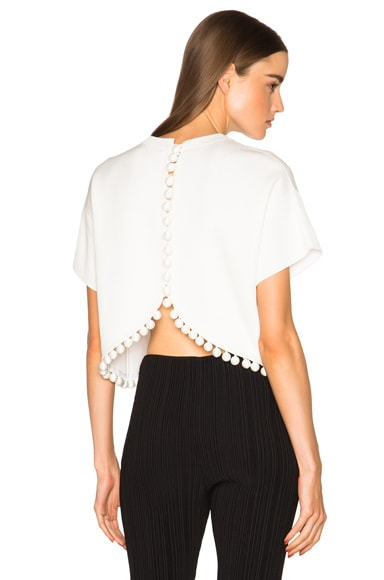 Proenza Schouler Double Face Silk Knit Crop Top in Off White