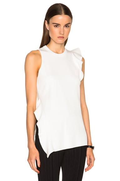 Proenza Schouler Double Face Silk Knit Ruffle Top in Off White
