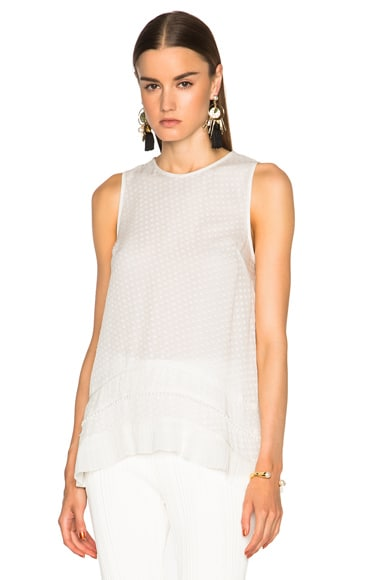 Proenza Schouler Fil Coupe Dot Jacquard Top in White