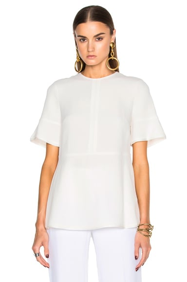 Proenza Schouler Satin Back Crepe Flared Top in Off White