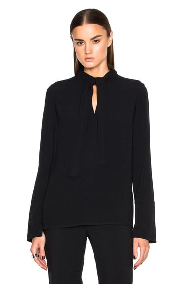 Proenza Schouler Satin Back Crepe Neck Tie Blouse in Black