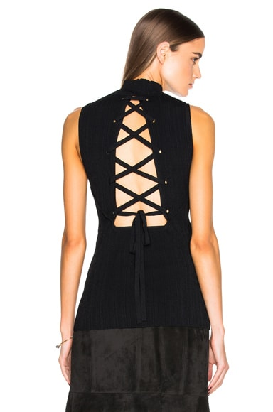 Proenza Schouler Pleated Rib Knit Top in Black