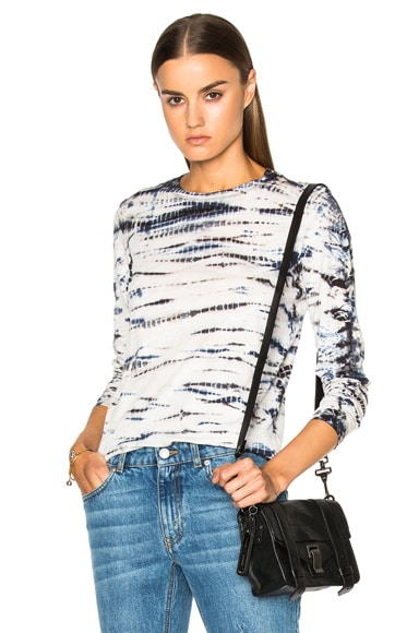 Proenza Schouler Tie Dye Tissue Jersey Long Sleeve Tee in Navy & White