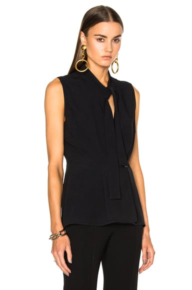 Proenza Schouler Satin Back Crepe Wrap Top in Black