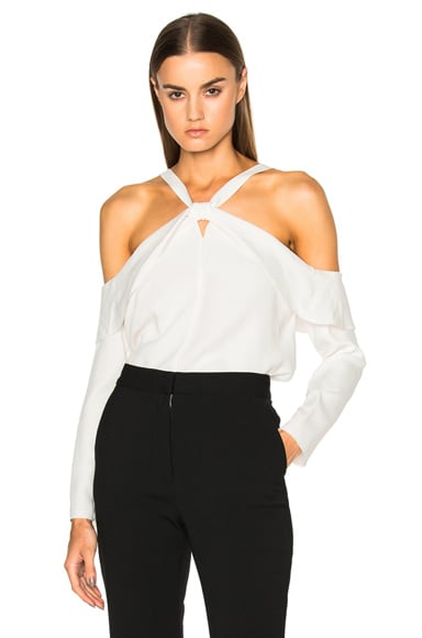 Proenza Schouler Satin Back Off Shoulder Top in Chalk