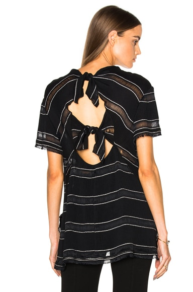 Proenza Schouler Pin Stripe Crepe Top in Black & White Stripe