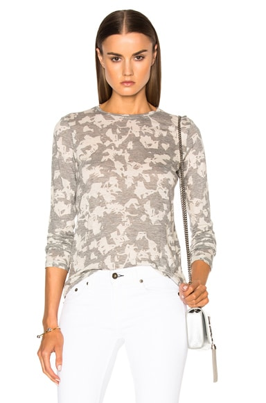 Proenza Schouler Printed Jersey Long Sleeve Tee in Heather Grey & Ecru Floral