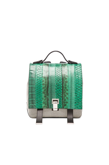 Proenza Schouler Small Exotic Stripe Courier Backpack in Aloe