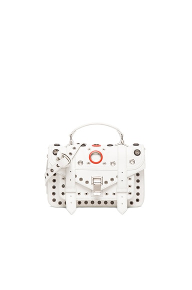 Proenza Schouler Tiny PS1 Leather Bag with Grommets in Optic White