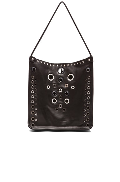 Proenza Schouler Medium Leather Tote with Grommets in Black