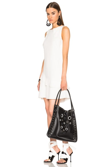Medium Leather Tote with Grommets