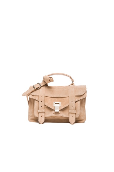 Proenza Schouler Tiny PS1 Suede in Nude