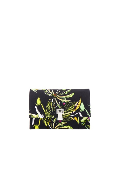 Proenza Schouler Small Floral Print Satin Lunch Bag in Navy