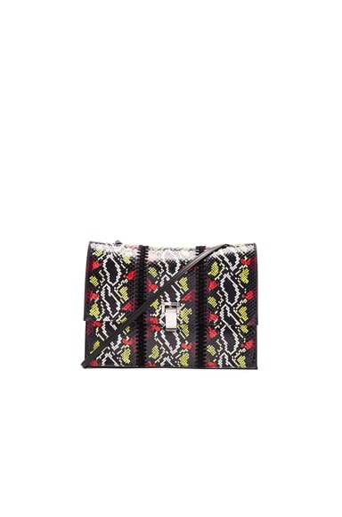 Proenza Schouler Large Ayers & Crochet Lunch Bag in Black, Fire Red & Sulfur