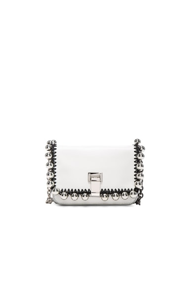 Proenza Schouler Extra Small Pom Pom Crochet Courier in White & Silver