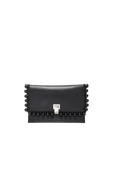 Proenza Schouler Small Pom Pom Crochet Lunch Bag in Black