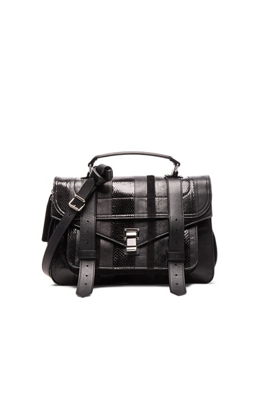 Proenza Schouler Medium Exotic Stripe Mix PS1 in Black