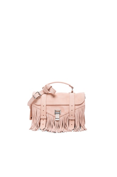 Proenza Schouler Tiny PS1 Fringe Suede in Bare
