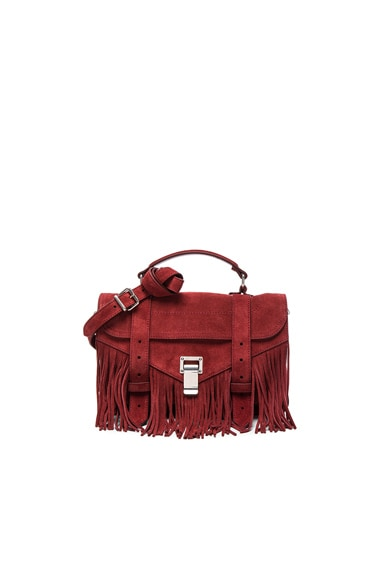 Proenza Schouler Tiny PS1 Fringe Suede in Midnight Plum