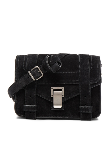 Proenza Schouler Mini PS1 Suede in Black