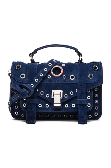 Proenza Schouler Tiny PS1 Suede & Leather Grommets in Indigo