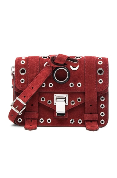 Proenza Schouler Mini PS1 Suede & Leather Grommets in Midnight Plum