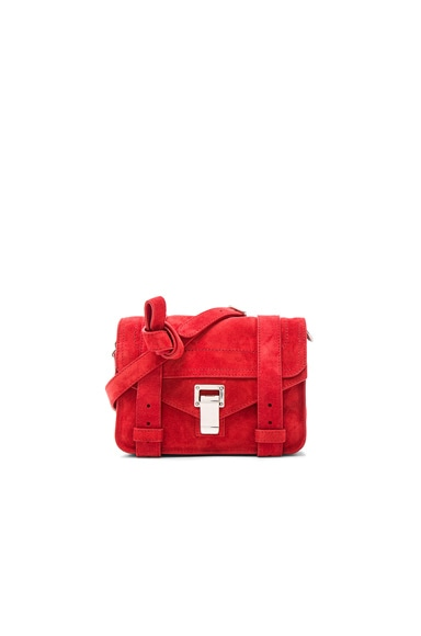 Proenza Schouler Mini PS1 Suede in True Red