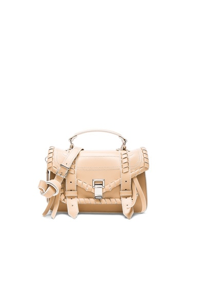 Proenza Schouler Tiny PS1 Whipstitch Leather in Warm Sand