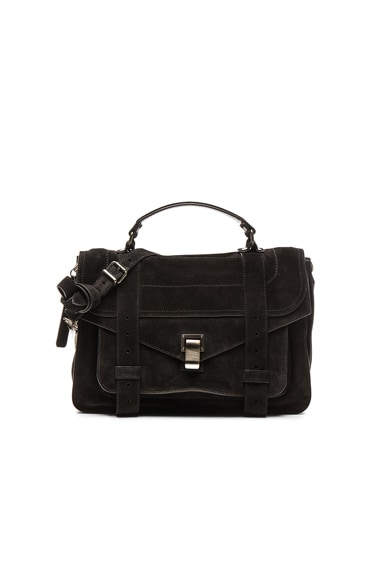 Proenza Schouler Medium PS1 Suede in Black